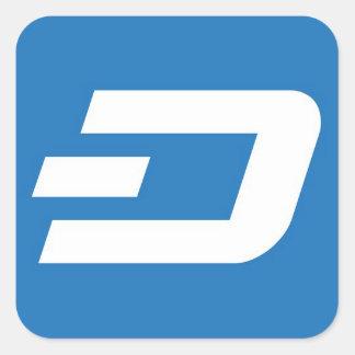 Dash Sticket - White on Blue Background Square Sticker