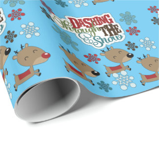 Dashing Throw The Snow Wrapping Paper