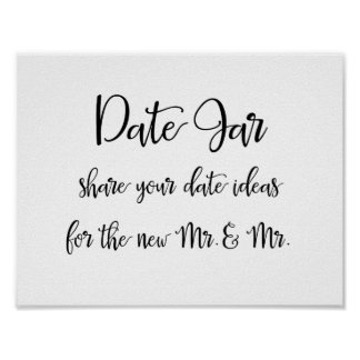Date jar ideas gay wedding sign | Calligraphy Poster