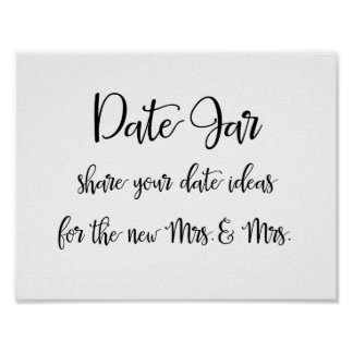 Date jar ideas lesbian wedding sign poster