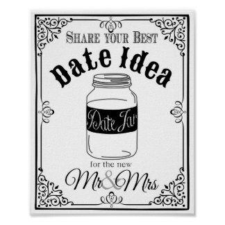 date jar wedding sign wedding or party sign poster