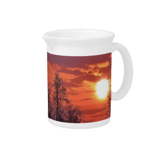 Dawn Sunrise & Trees in Silhouette Nature Gift Pitcher