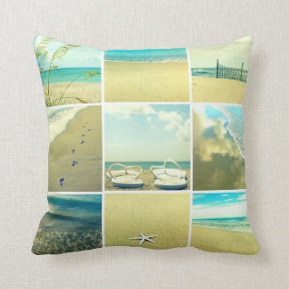 Day at the Beach Photo Collage Pillow