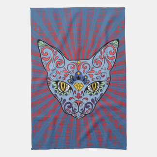 Day of the Dead Blue Cat Sugar Skull Tea Towel