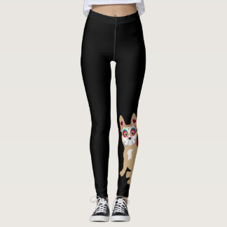 Day of the Dead Cream Frenchie Leggings