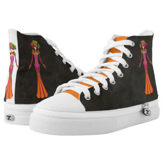 Day of the Dead Doll in Pink and Orange Printed Shoes