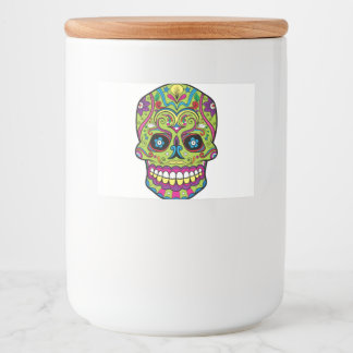 Day of the Dead Green Skull Food Label