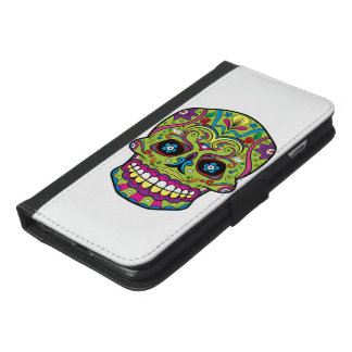 Day of the Dead Green Skull iPhone 6/6s Plus Wallet Case