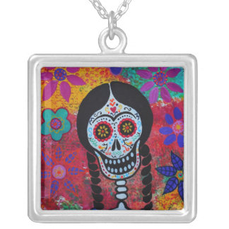 DAY OF THE DEAD mexican lady NECKLACE