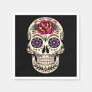 Day of the Dead Skull with Rose Disposable Serviette