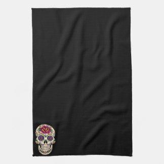 Day of the Dead Skull with Rose Tea Towel