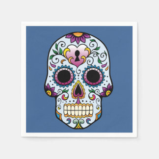 Day of the Dead Sugar Skull Blue Disposable Napkins