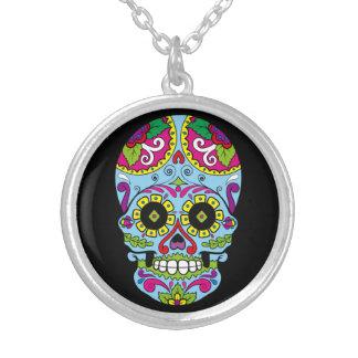 Day of the Dead Sugar Skull Dia de los Muertos Silver Plated Necklace