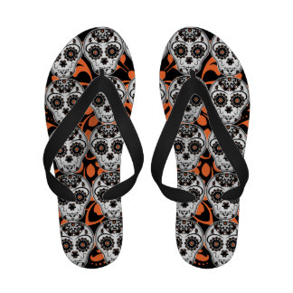 Day of the Dead sugar skull in Halloween colors Sandals
