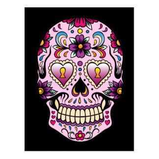 Day of the Dead Sugar Skull Pink Postcard
