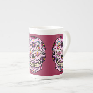 Day of the Dead Sugar Skull Pink Tea Cup