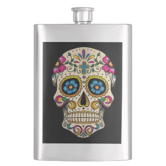 Day of the Dead Sugar Skull with Cross Hip Flask