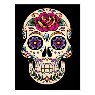 Day of the Dead Sugar Skull with Rose Postcard