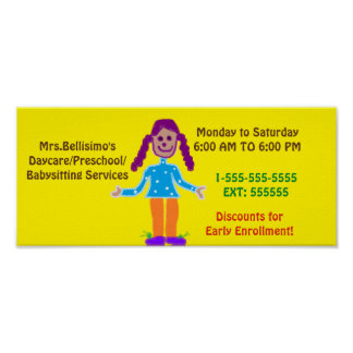 Daycare/Preschool Poster Sign. Customizable