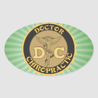DC LOGO DOCTOR CHIROPRACTIC CADUCEUS OVAL STICKER