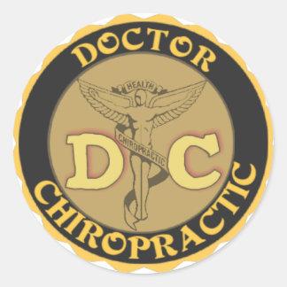 DC LOGO - DOCTOR CHIROPRACTIC CADUCEUS ROUND STICKER