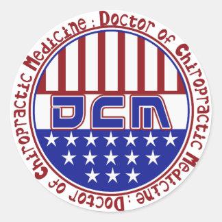 DCM DOCTOR CHIROPRACTIC MEDICINE PATRIOTIC LOGO ROUND STICKER