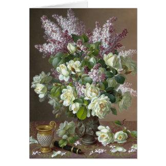 De Longpré Roses and Lilacs CC0605 Flower Card