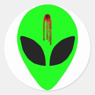 Dead Alien Round Sticker