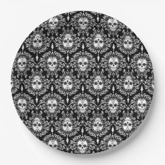 Dead Damask - Chic Sugar Skulls Paper Plate