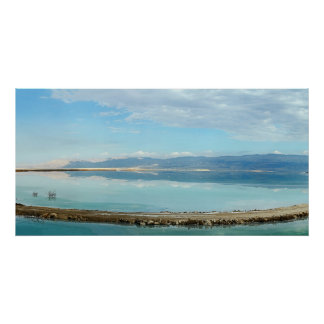 Dead sea panorama mountains blue water reflection poster