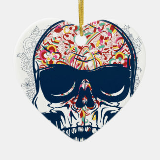 dead skull zombie colored design christmas ornament