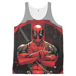 Deadpool in Paint Splatter Logo All-Over Print Tank Top