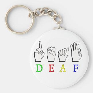 DEAF ASL FINGER SPELLED BASIC ROUND BUTTON KEY RING