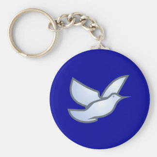 Deaf dove basic round button key ring