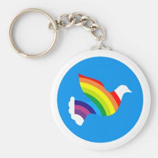 Deaf rainbow dove rainbow basic round button key ring
