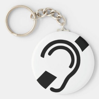 Deaf Symbol Basic Round Button Key Ring