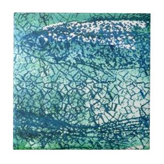 deap sea green fish small square tile