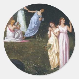 Death and the Maidens by Pierre Puvis de Chavannes Round Sticker