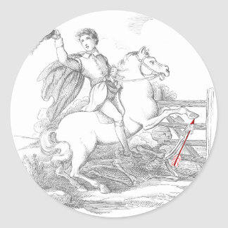Death Causes a Fatal Riding Accident Round Sticker