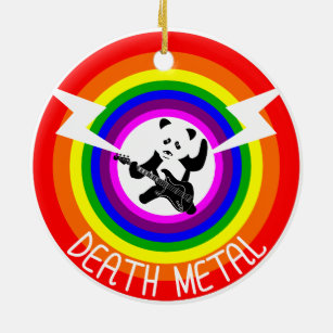 death metal panda rainbow christmas ornament - Death Metal Christmas
