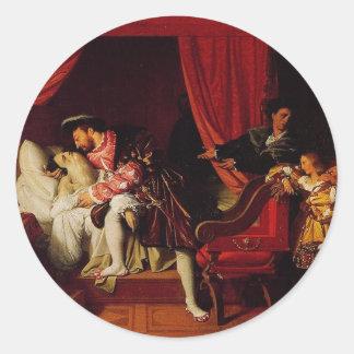 Death of Leonardo Da Vinci by Ingres circa 1818 Classic Round Sticker