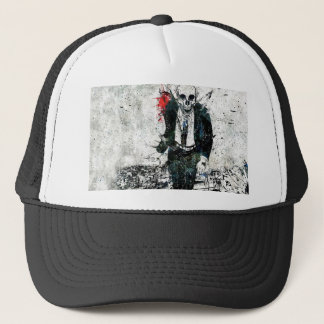 Death skeleton suite trucker hat