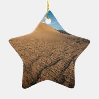 Death valley, desert natural sand dunes near devil ornament