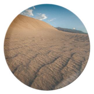 Death valley, desert natural sand dunes near devil party plate