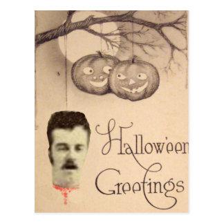 Decapitated Head Jack O Lantern Pumpkin Full Moon Postcards