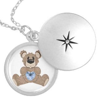 December birthstone heart bear  locket