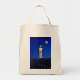 December evening at Scituate Light Grocery Tote Bag