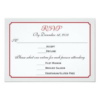 December Holiday Wedding RSVP Response with Menu 9 Cm X 13 Cm Invitation Card