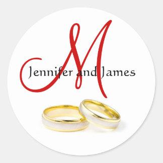 December Wedding Rings Monogram M Invitation Seal Classic Round Sticker
