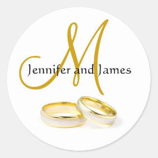 December Wedding Rings Monogram Sticker